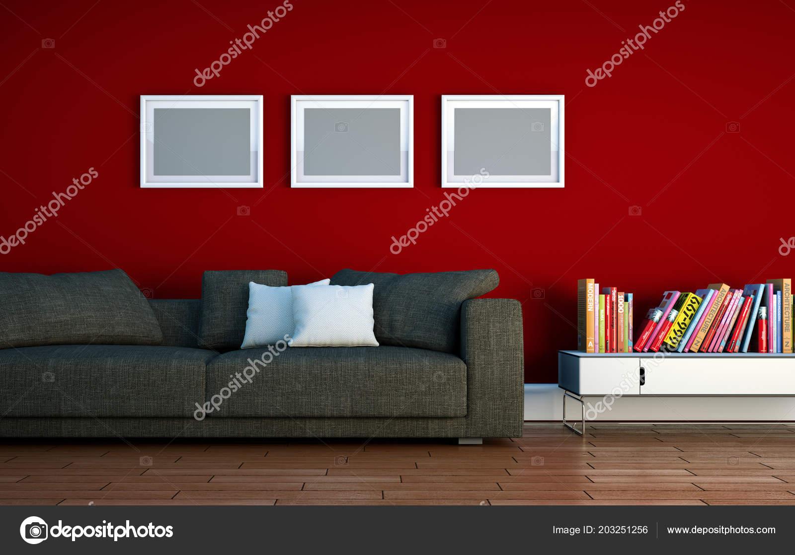 Chambre lumineuse avec canapé gris devant un mur rouge ...