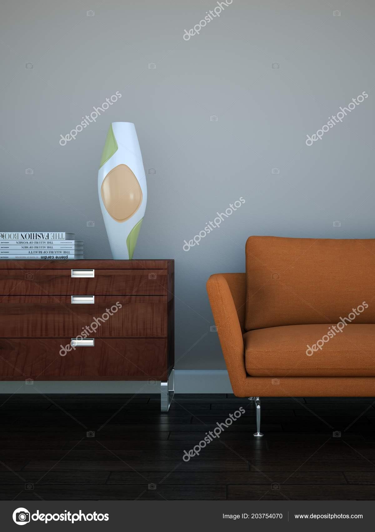 Chambre Lumineuse Avec Orange Canapé Devant Un Brun Mur Illustration 3d U2014  Image De ...