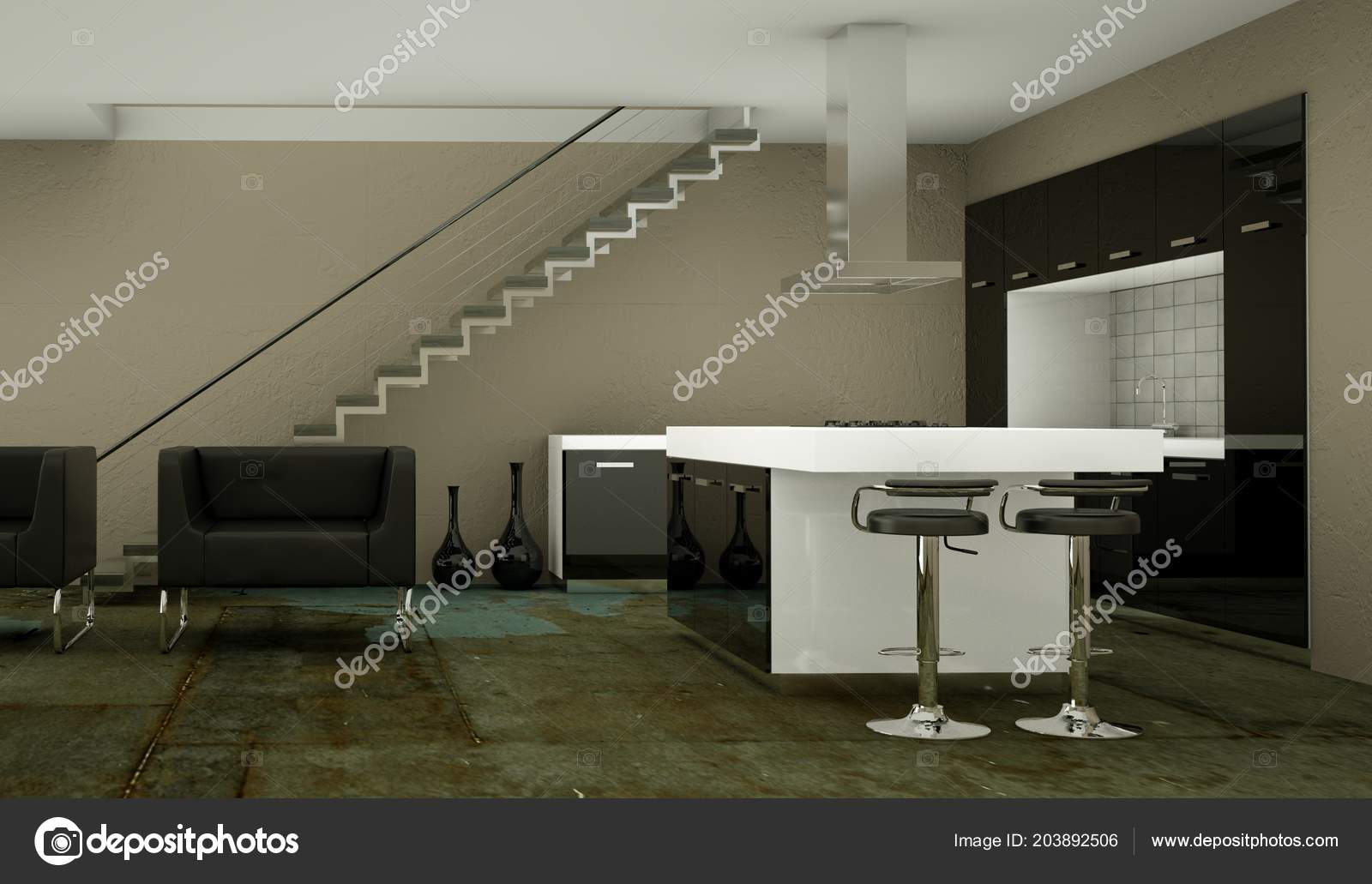 Moderne Keuken Ontwerpen : Moderne keuken in loft met een mooi ontwerp u2014 stockfoto © virtua73
