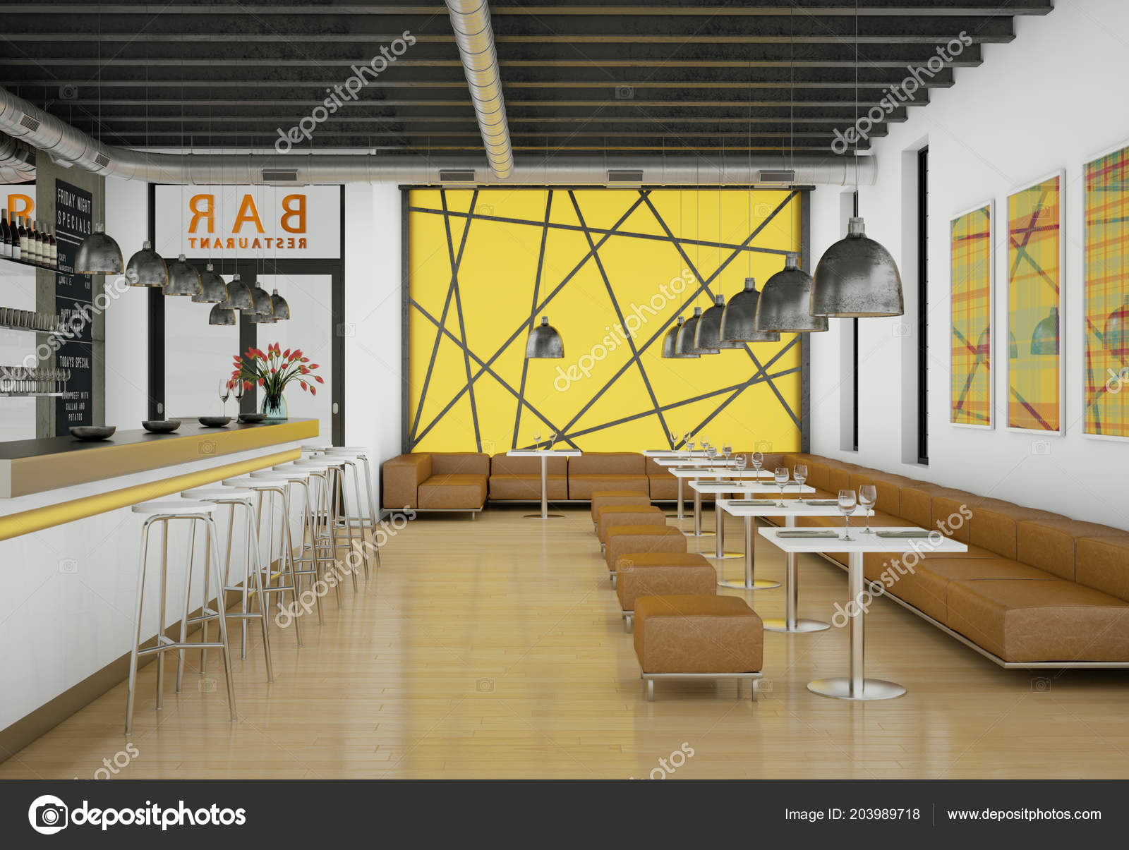Modern yellow coffee restaurant indoor with furniture stock photo