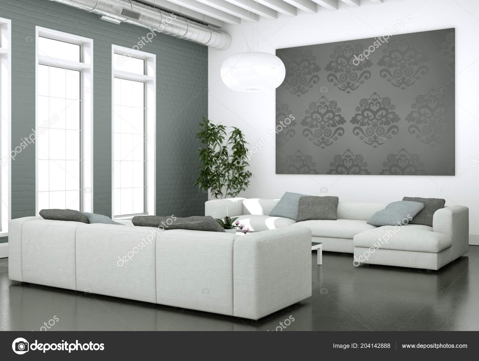 Design moderno luminoso soggiorno con divani e parete grigia — Foto ...