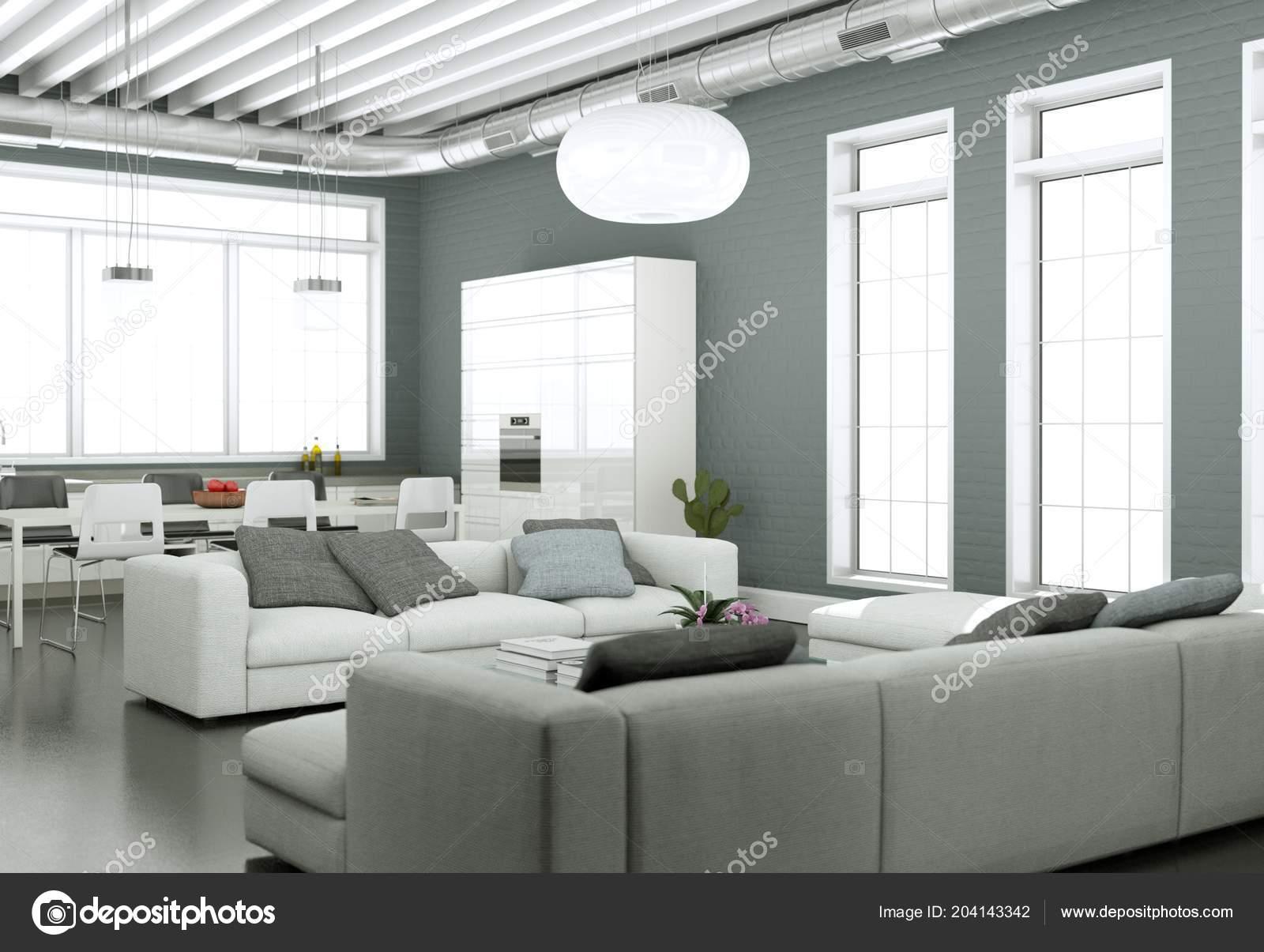 Grijze Muur Woonkamer : Interieur van de moderne lichte woonkamer met sofa s en grijze