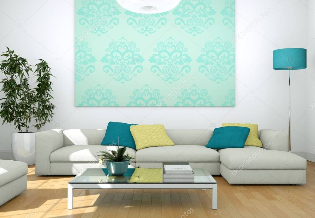 Modern bright living room interior design with sofas and blue wall