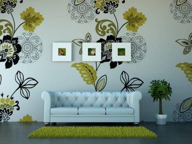 Interior design modern bright room with sofa 3d Illustration stock vector