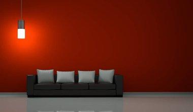 Interior design modern bright room with sofa