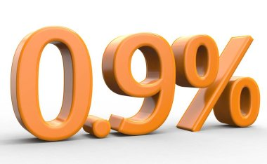 0,9 percent discount. orange 3d numbers on isolated white background