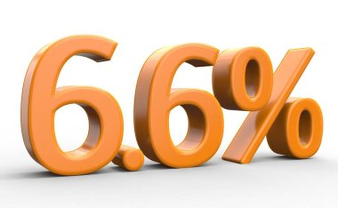 6,6 percent discount. orange 3d numbers on isolated white background