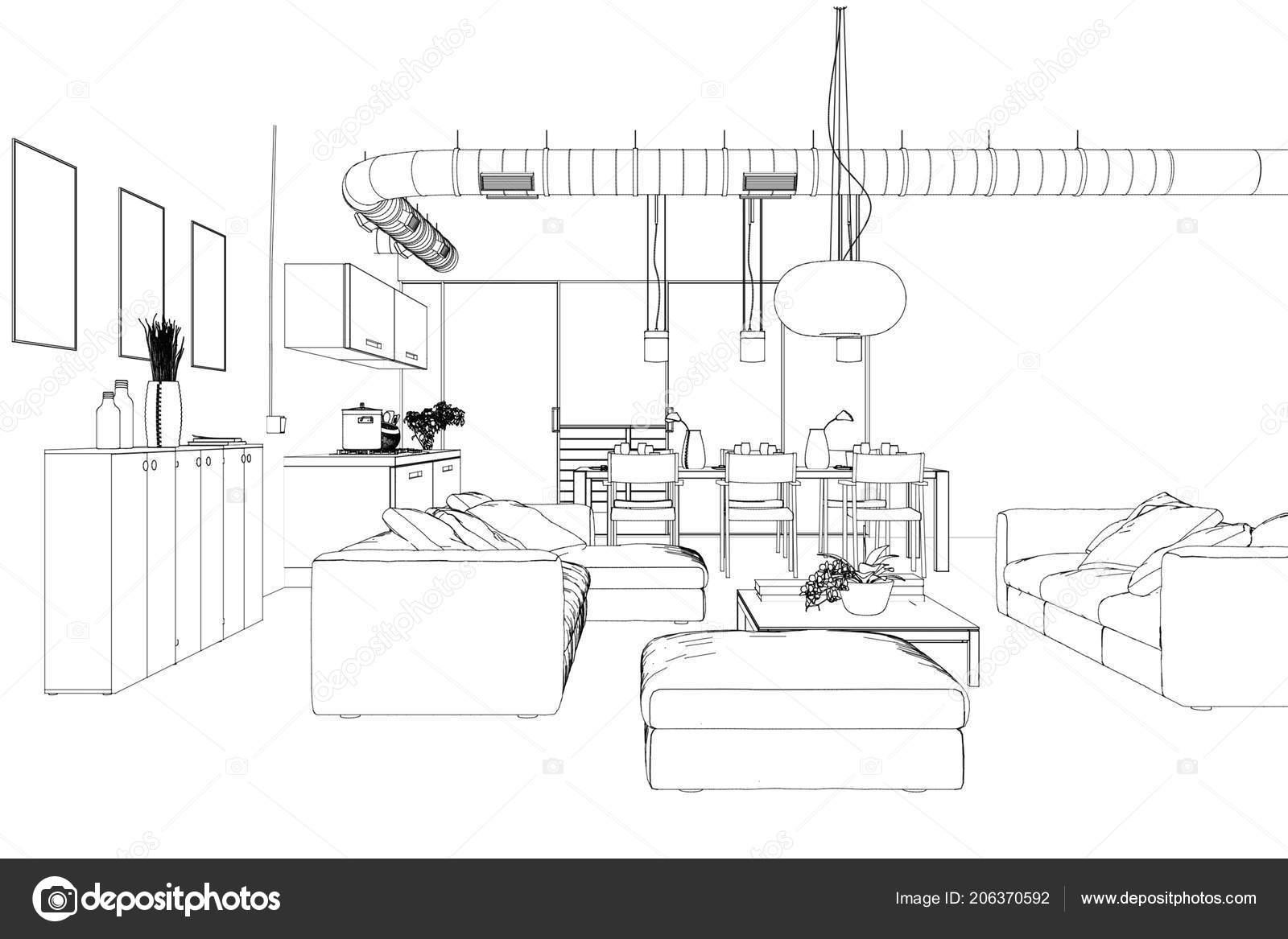 Interior Design Living Room custom Drawing — Stock Photo ... on interior design board layout, interior design plan view, interior design flowchart, interior design block diagram,