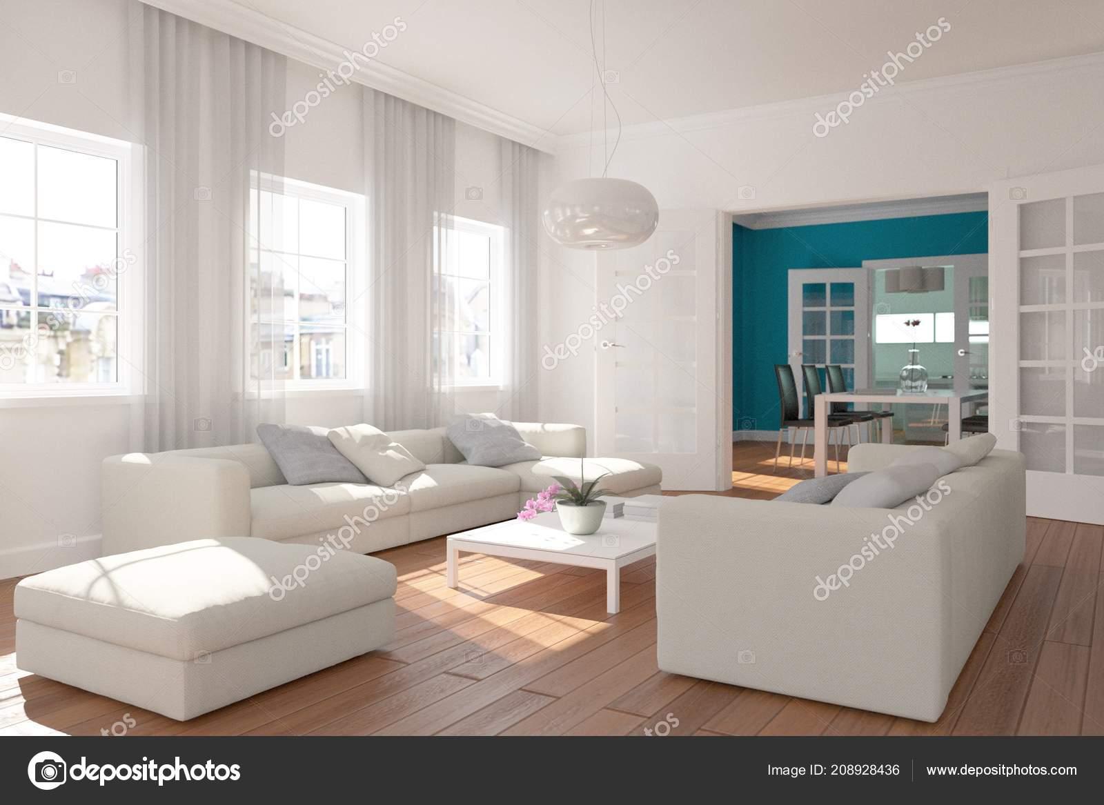 Moderne helle skandinavische Innenarchitektur Wohnzimmer ...
