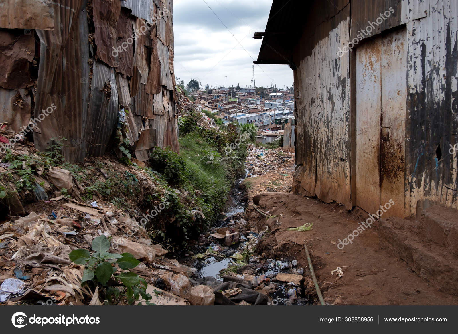 Largest Slum Nairobi City Africa — Stock Photo