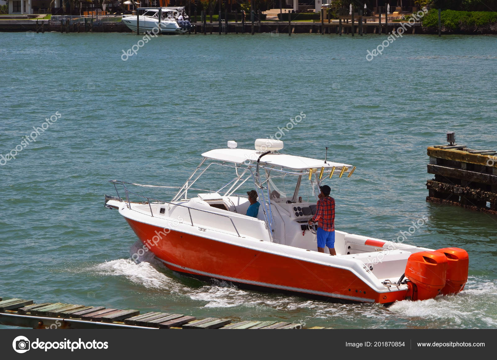 Bright Orange White Sport Fishing Boat Cruising Biscayne Bay Florida