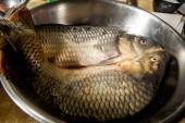 Vértes két késsel friss döntő carp fish hántolt hazugság, vas-tál, a konyhaasztalon