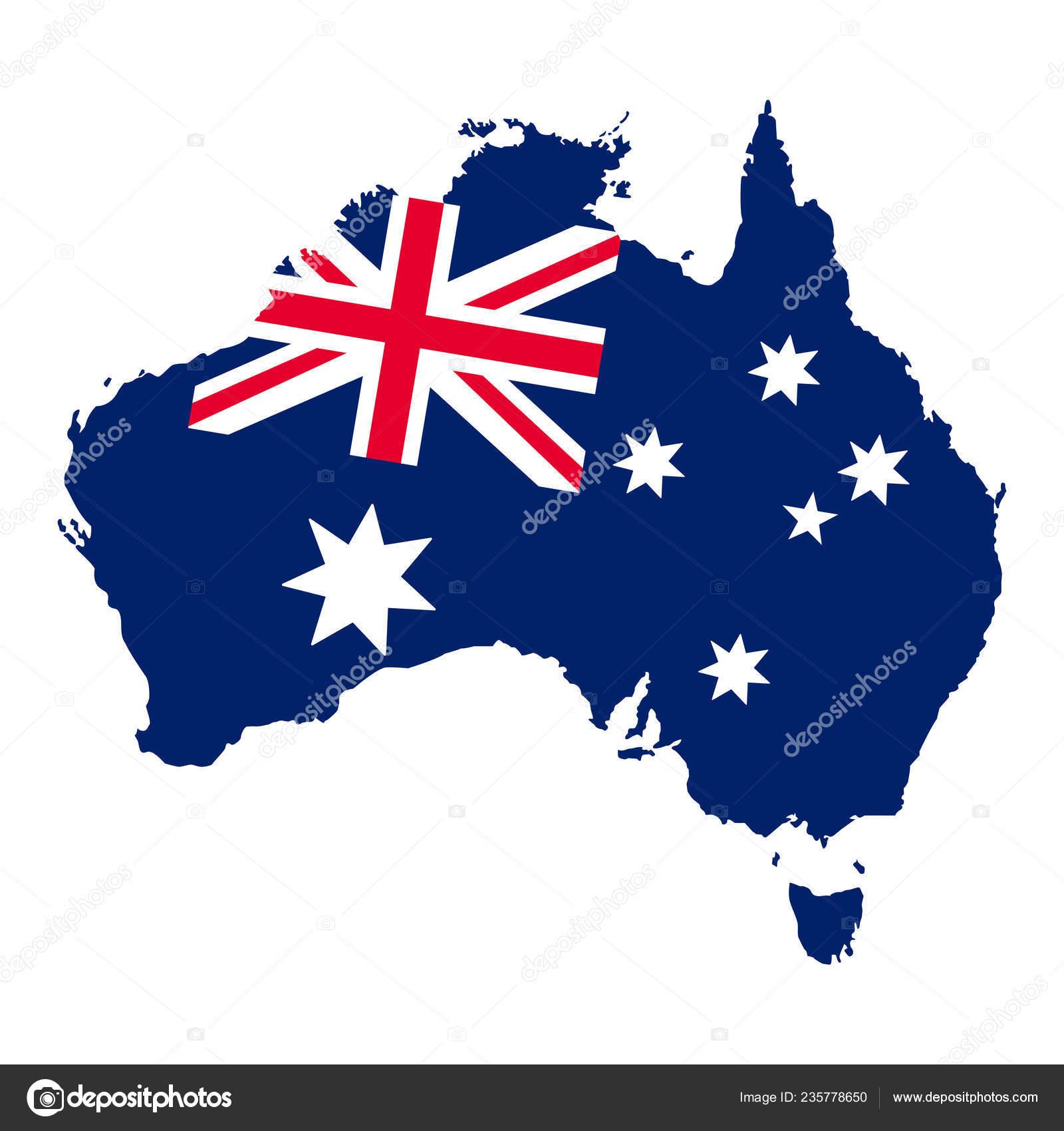 Carte Australie Drapeau.Drapeau Carte Australie Illustration Vectorielle