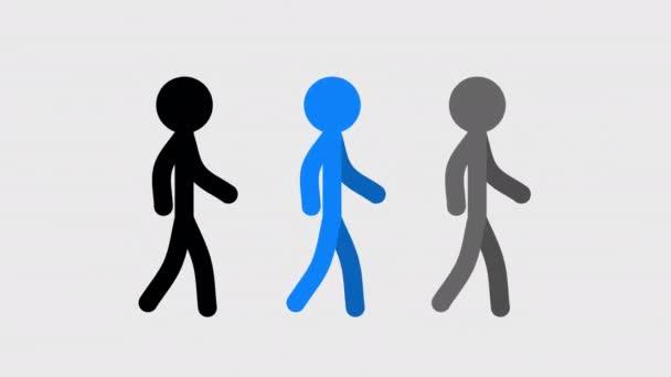 Strichmännchen-Gangzyklus, flache 2D-Animation auf transparentem Hintergrund