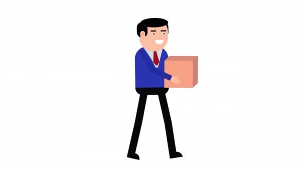 Männerfigur zu Fuß mit Pappschachtel 2D-Schleifenanimation. Alpha-Kanal wird nur beim Herunterladen der 4K Apple ProRes 4444-Datei einbezogen.
