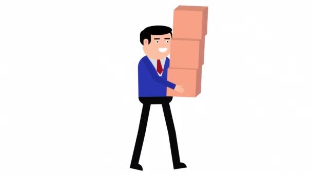 Charaktermensch, der mit Pappkartons geht, die 2D-Animation durchlaufen. Alpha-Kanal wird nur beim Herunterladen der 4K Apple ProRes 4444-Datei einbezogen.