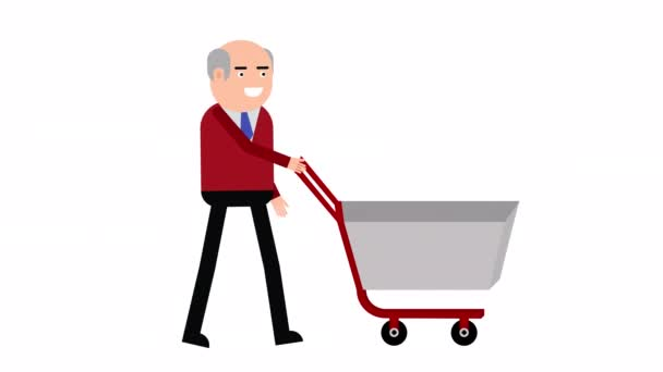 Character man walking with a shopping trolley looped animation. . Alpha channel will be included when downloading the 4K Apple ProRes 4444 file only.