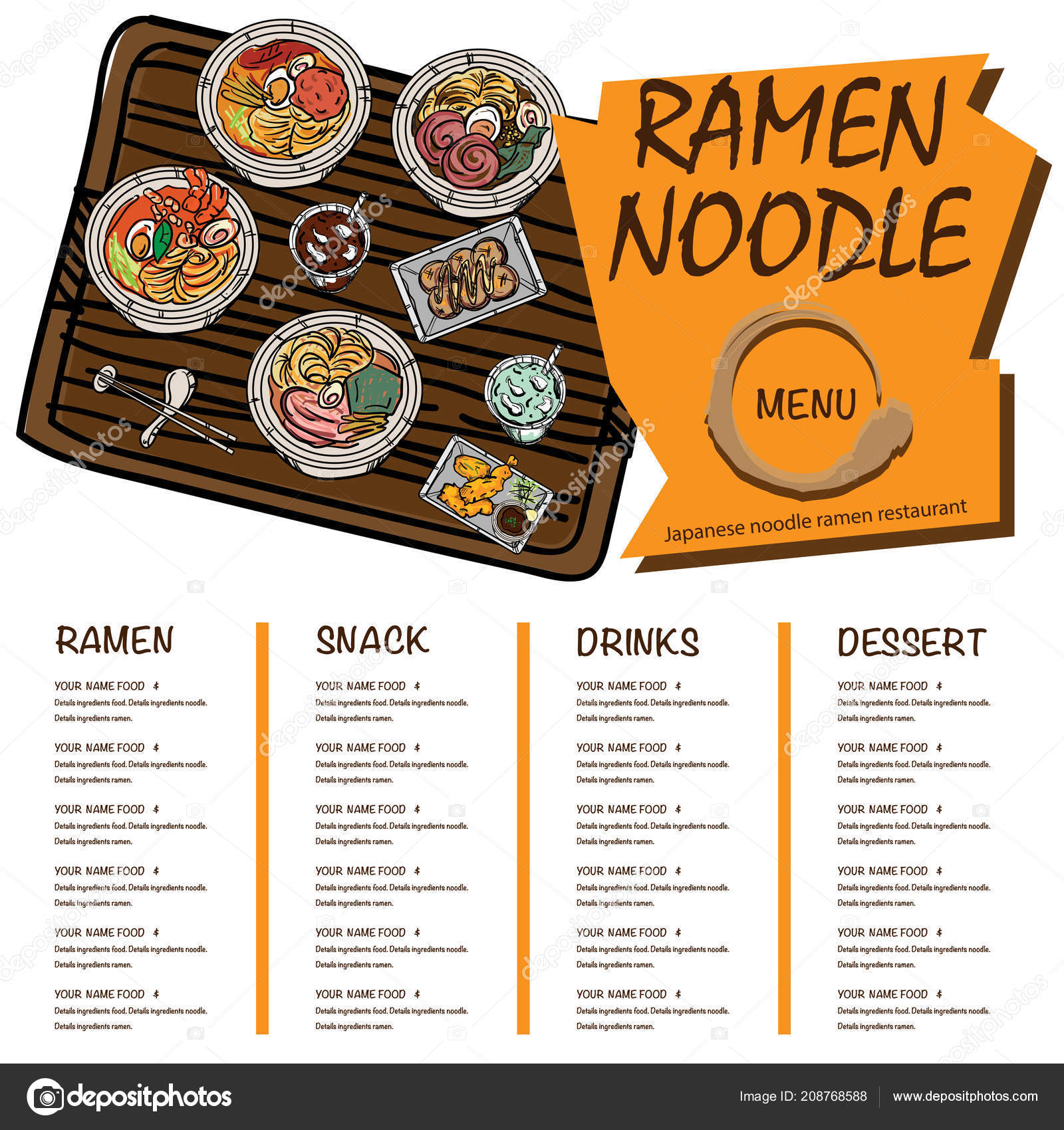 Menu Ramen Noodle Japanese Template Design Stock Vector C Foontntd 208768588