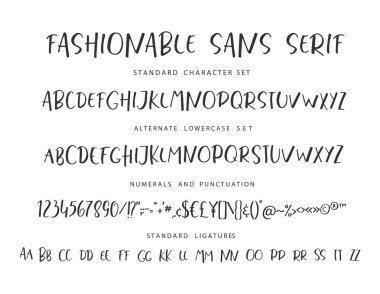 Handrawn vector alphabet. Modern letters for sans serif font.