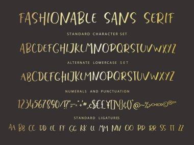 Handrawn vector alphabet. Modern gold letters for sans serif font.