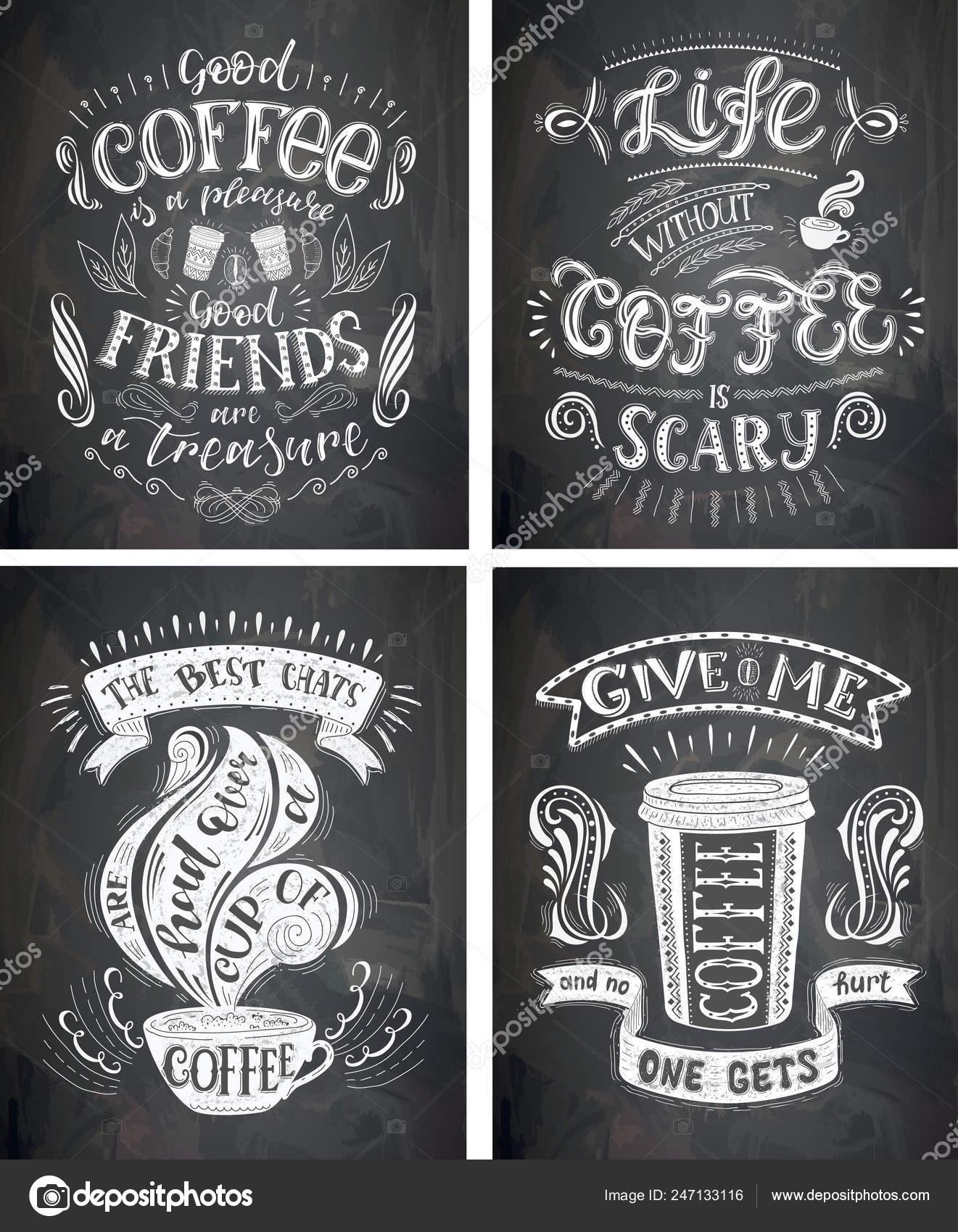 набор кофе котировки на доске вектор рисованной надписи