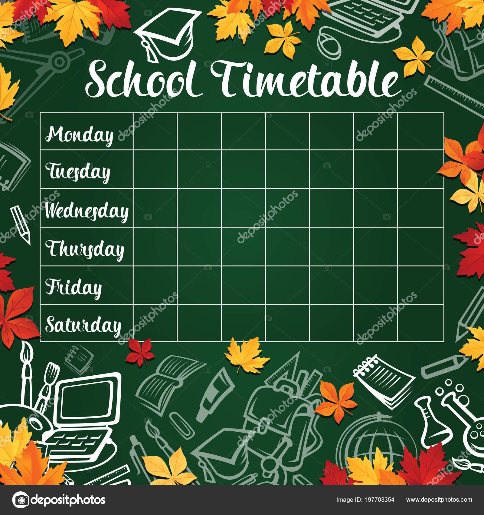 Schule Stundenplan Vorlage der Lektion Zeitplan — Stockvektor ...
