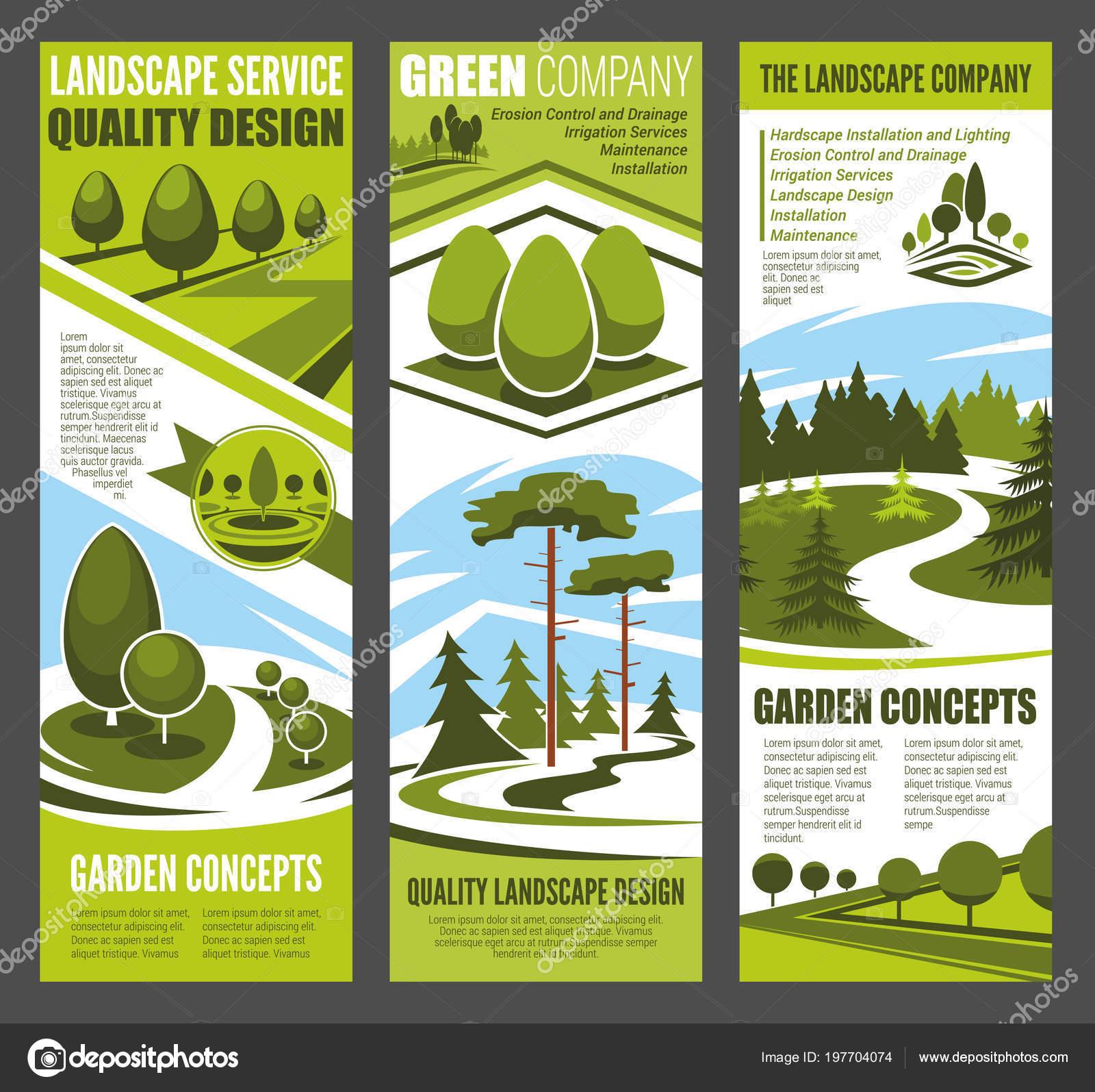 Banner de diseño de paisaje con árbol verde jardín — Archivo ...
