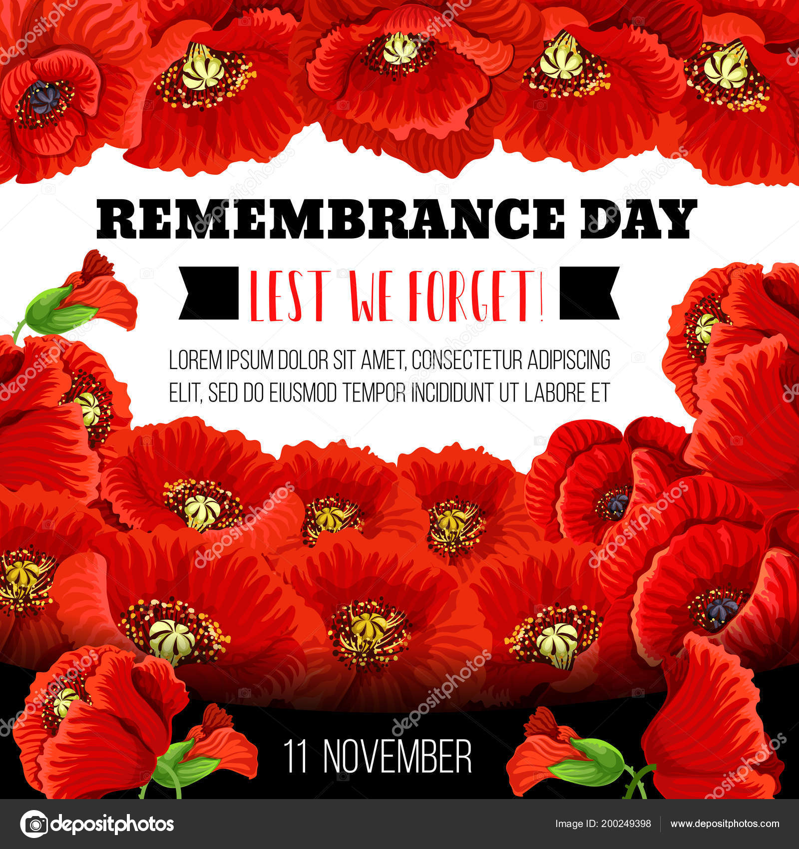 Remembrance Day Poppy Flower Memorial Wreath Card Stock Vector