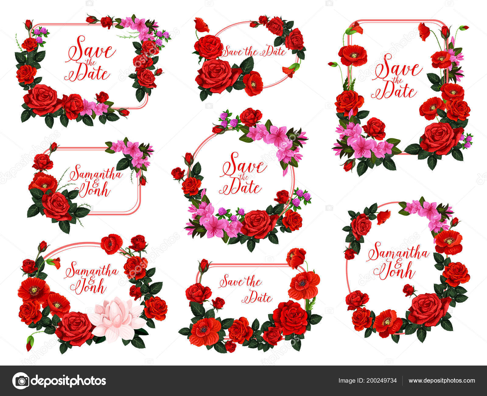 Save the Date flower frame for wedding invitation — Stock Vector ...