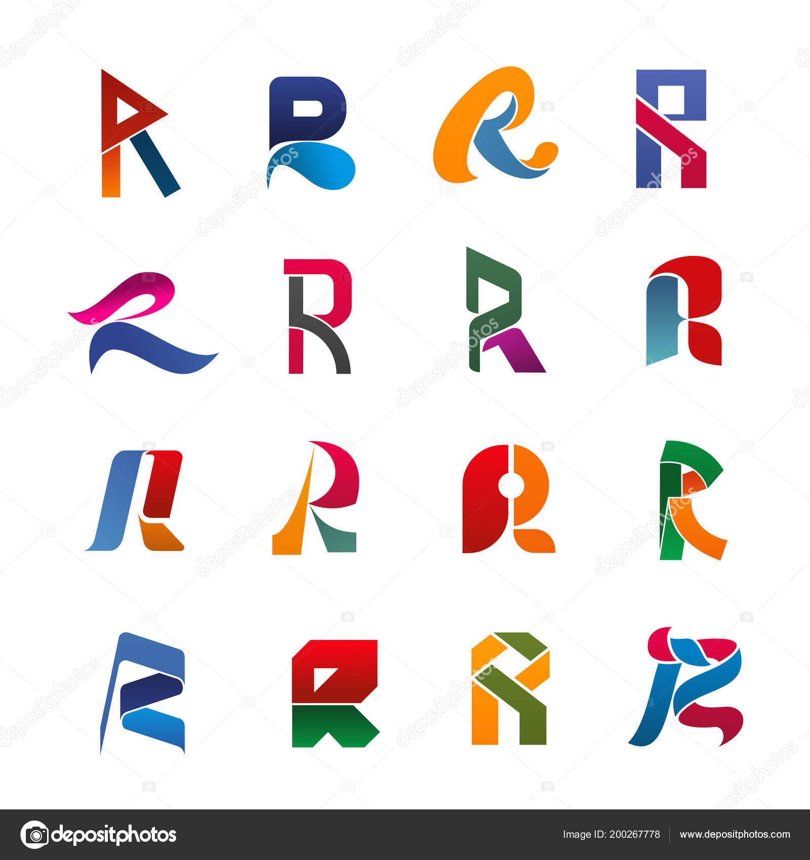 Police De Caracteres Majuscules R Forme Ruban Papier Origami Et Figure Geometrique Pour Corporate Branding Modele Carte Visite