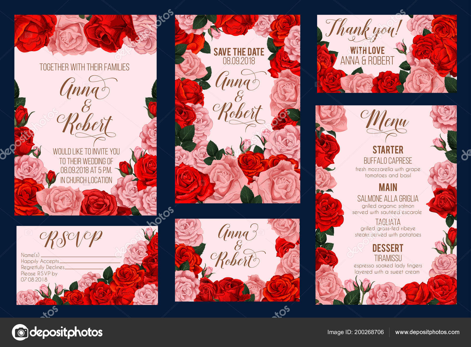 Wedding invitation card with rose flower frame — Stock Vector ...