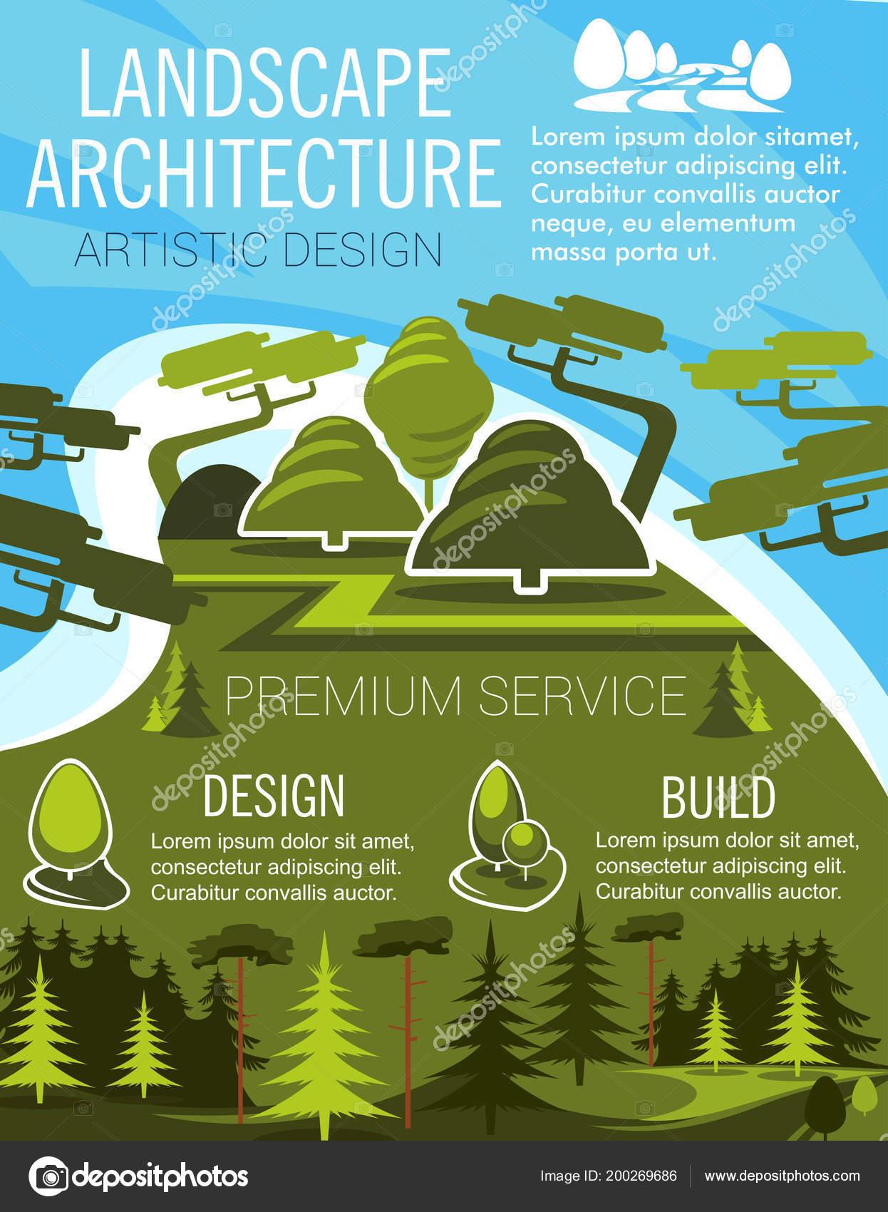 Banner de diseño de paisaje con árbol de parque verde eco — Archivo ...