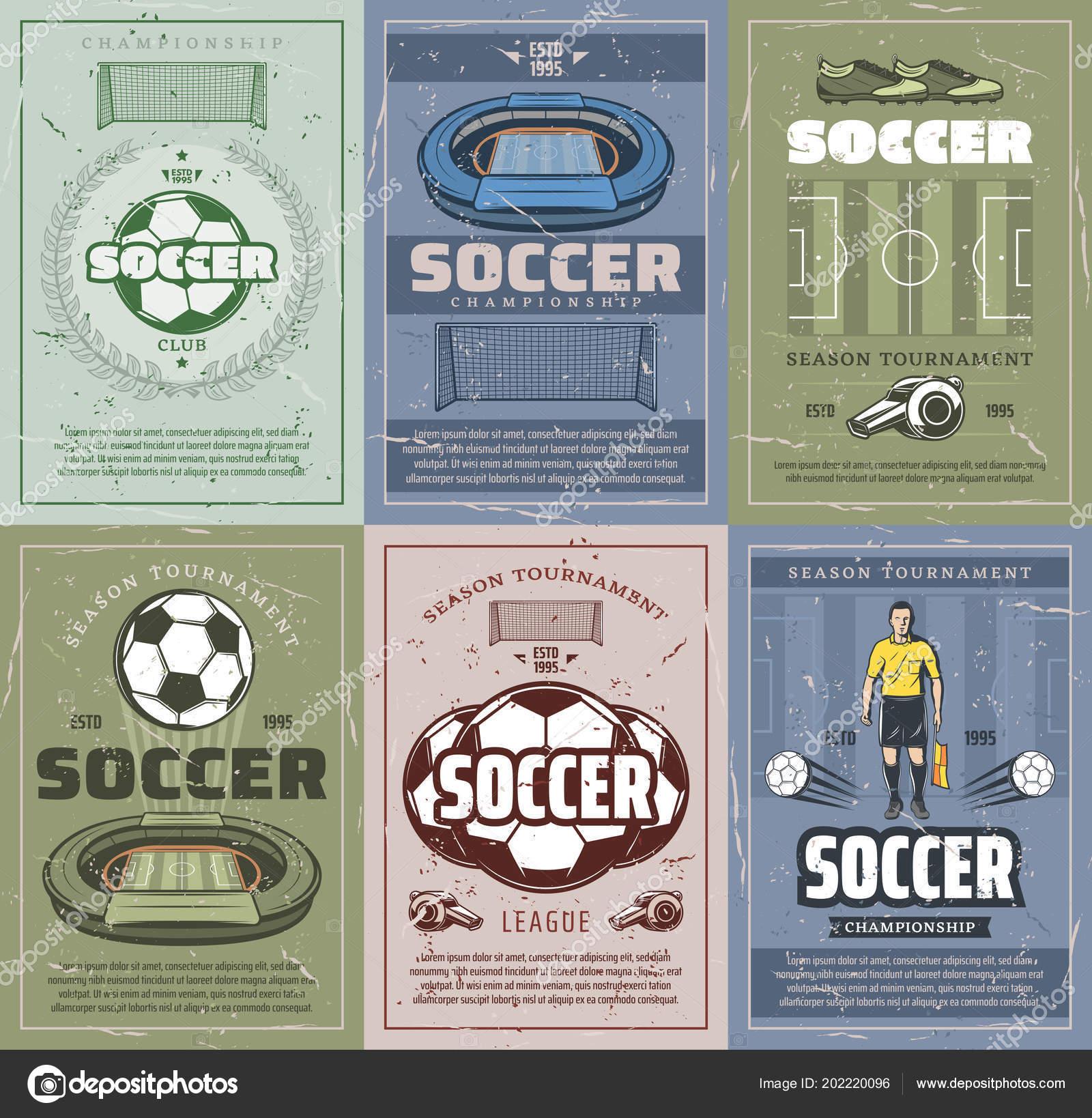 Piłka Nożna I Piłka Nożna Sport Plakaty Retro Streszczenie