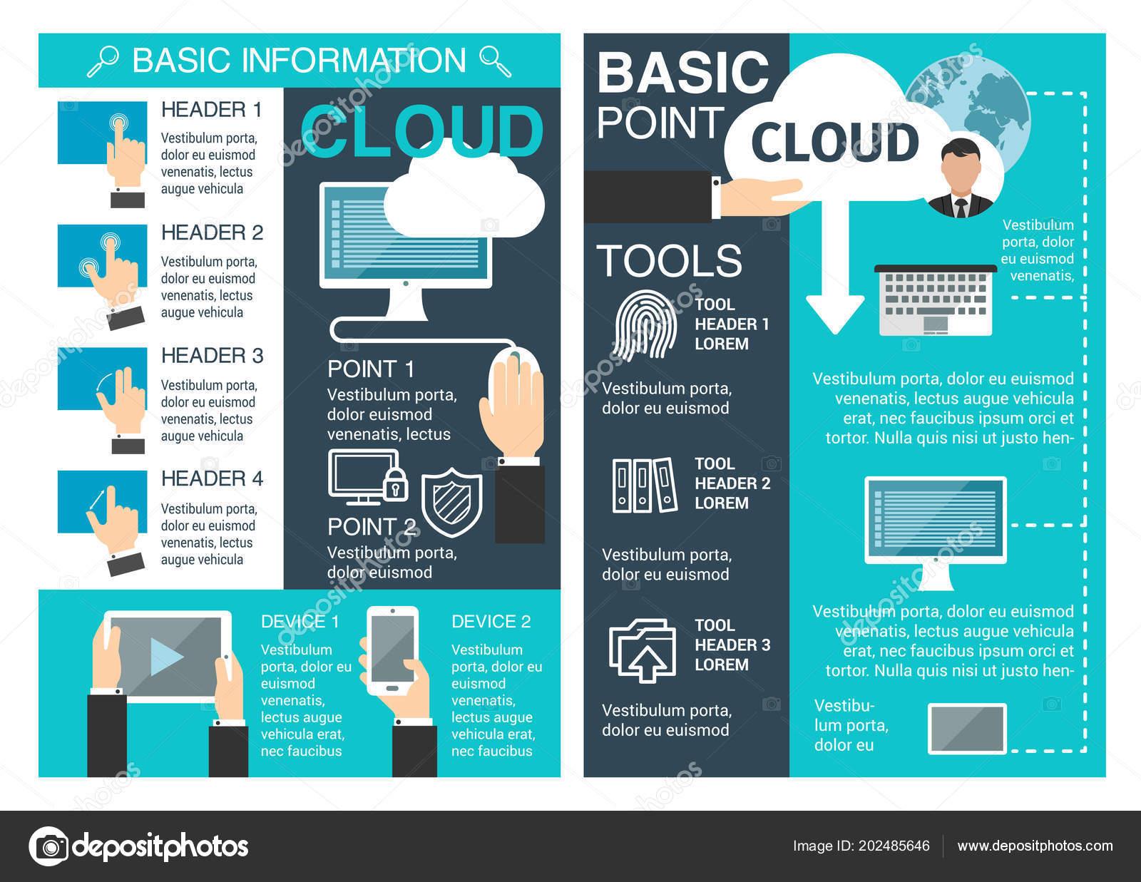 internet cloud information vector brochure vetor de stock