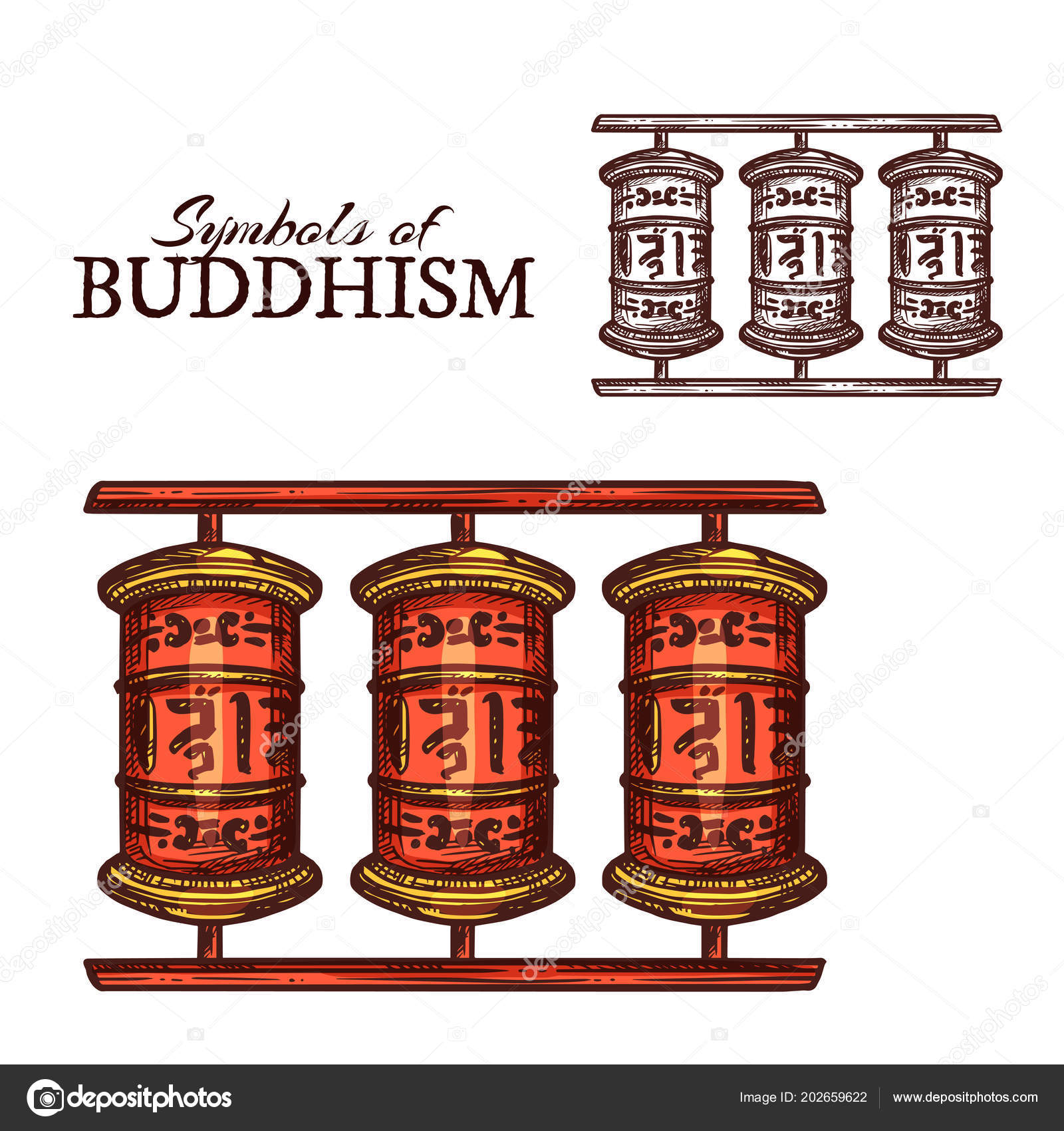 Buddhism Religion Symbol Of Buddhist Prayer Wheel Stock Vector