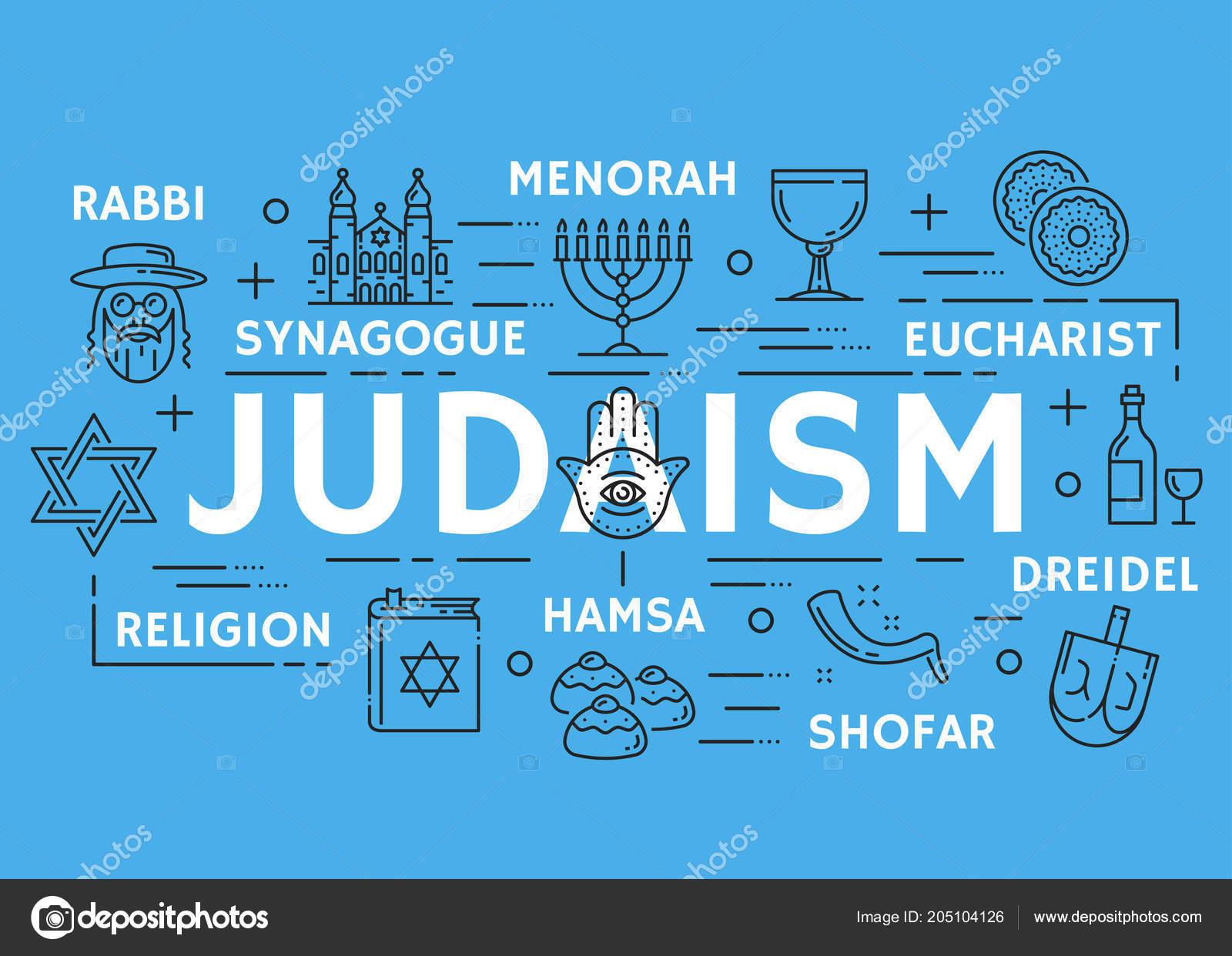 Vector Poster Of Judaism Religious Line Symbols Stock Vector