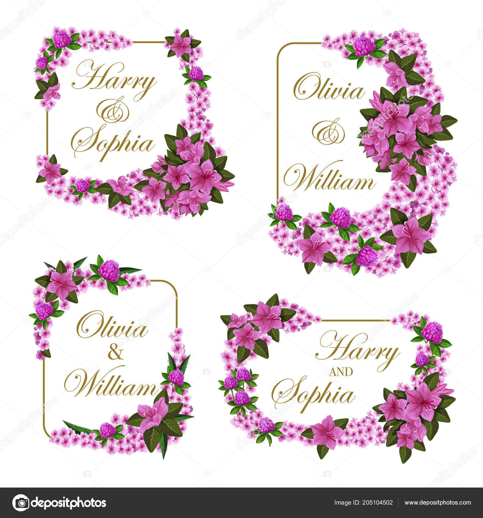 Vektor Hochzeit Einladungskarten Blumen Stockvektor C Seamartini