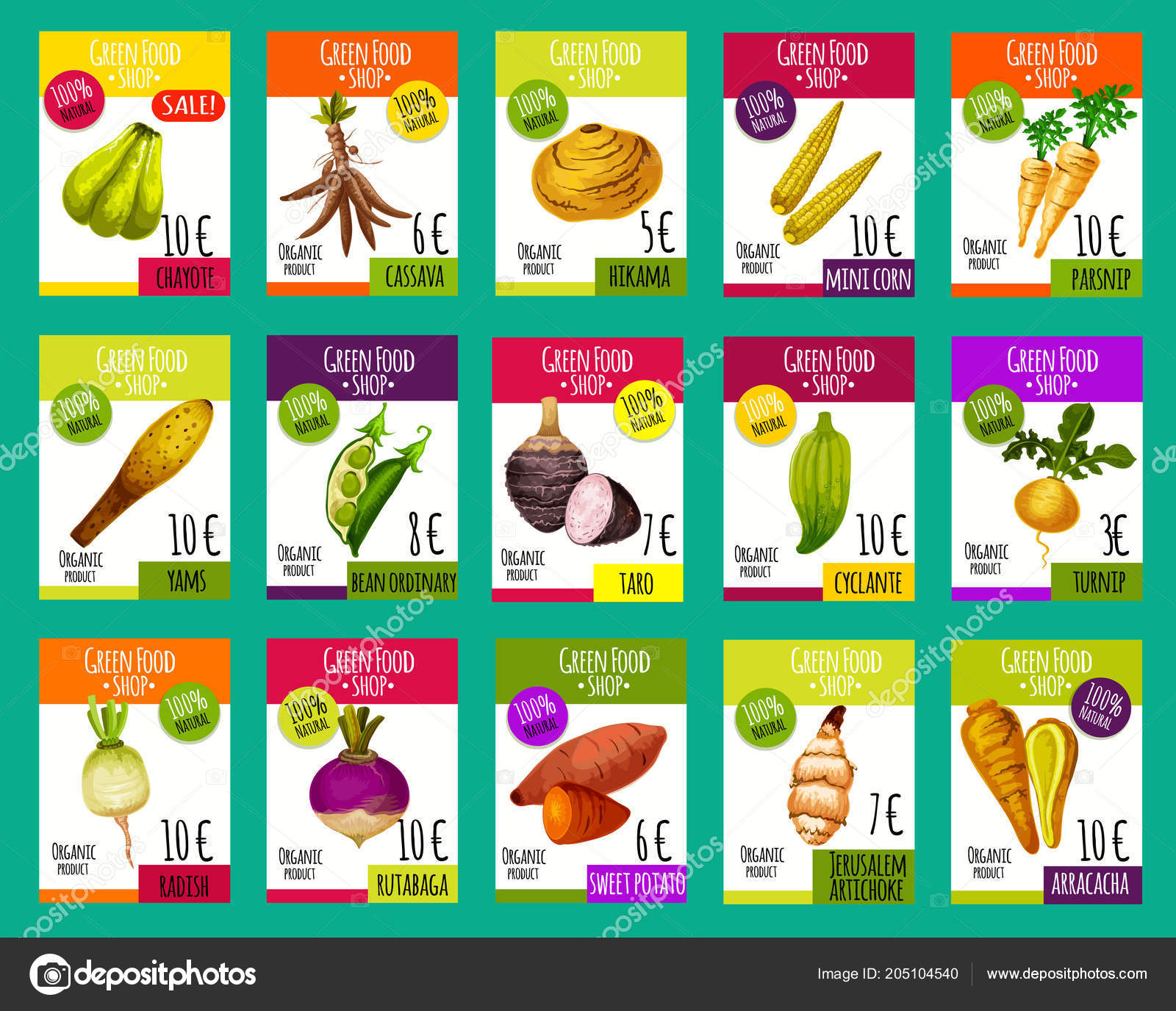 Vector price cards for exotic vegetables — Stock Vector © Seamartini