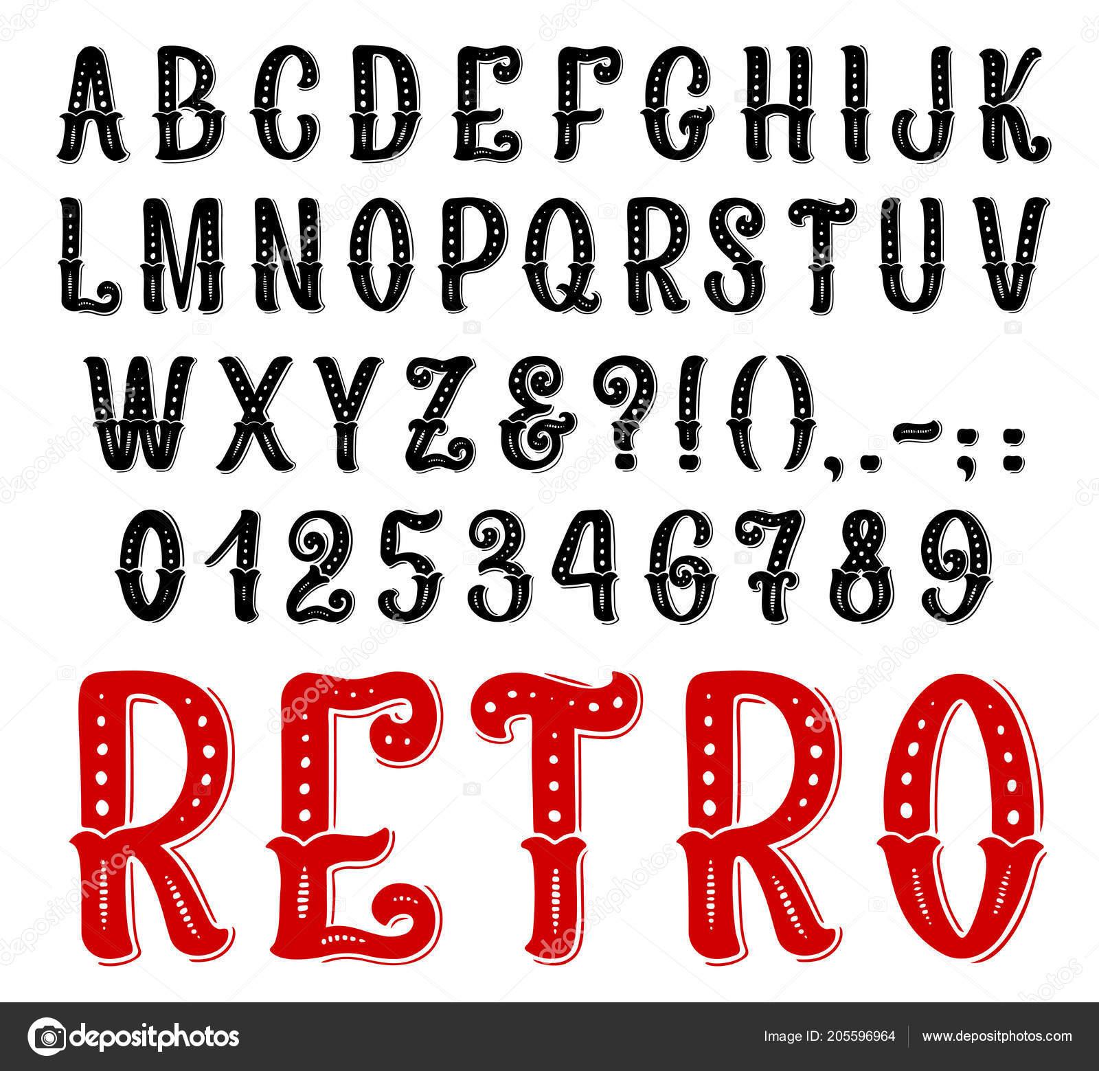 Fonte Decorativa Retrô Completo Símbolos E Letras Vetor De Stock