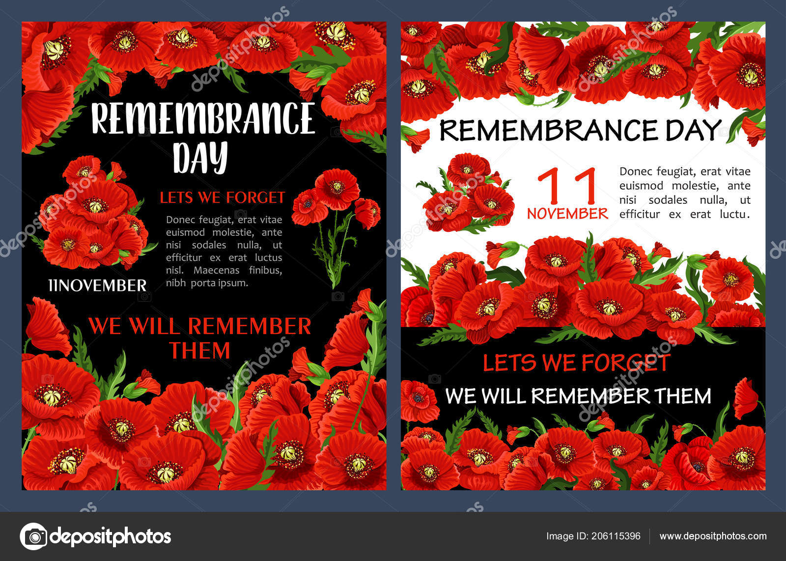Remembrance Day Poster With Red Poppy Flower Frame Stock Vector
