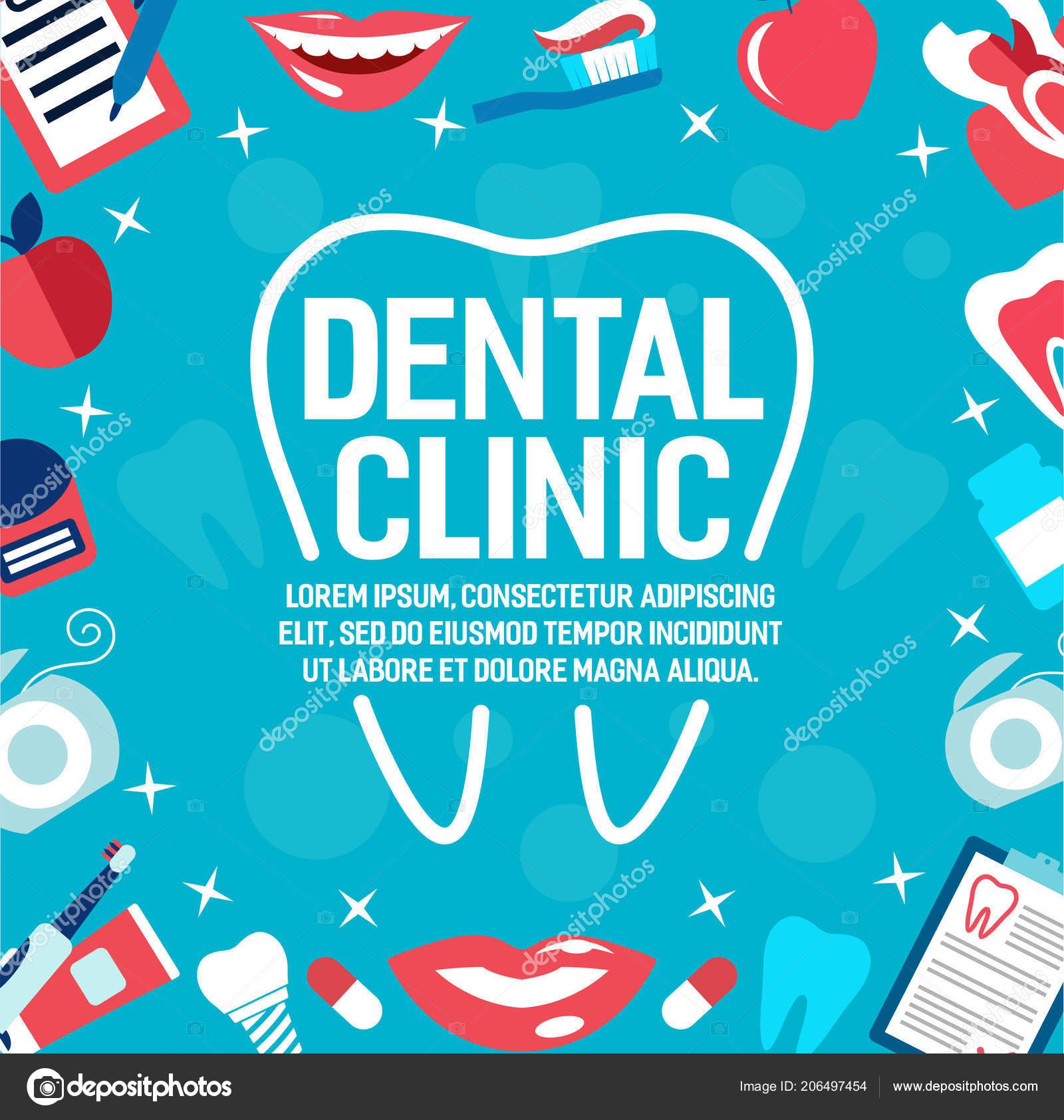 7c618912a Poster de clínica odontológica para odontologia medicina ou saúde dental.  Desenho vetorial de tratamentos de dentista e ortodontia ferramentas médicas