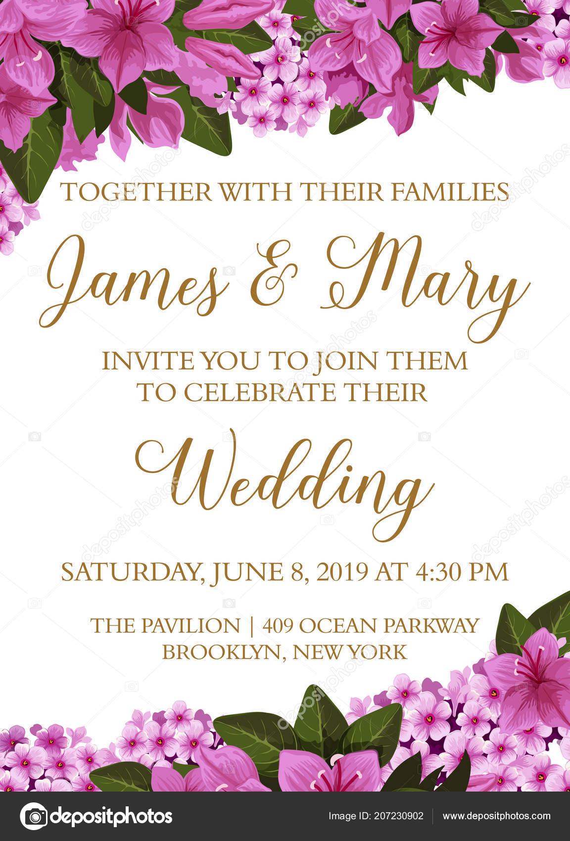 Wedding invitation card with spring flower border — Stock Vector ...