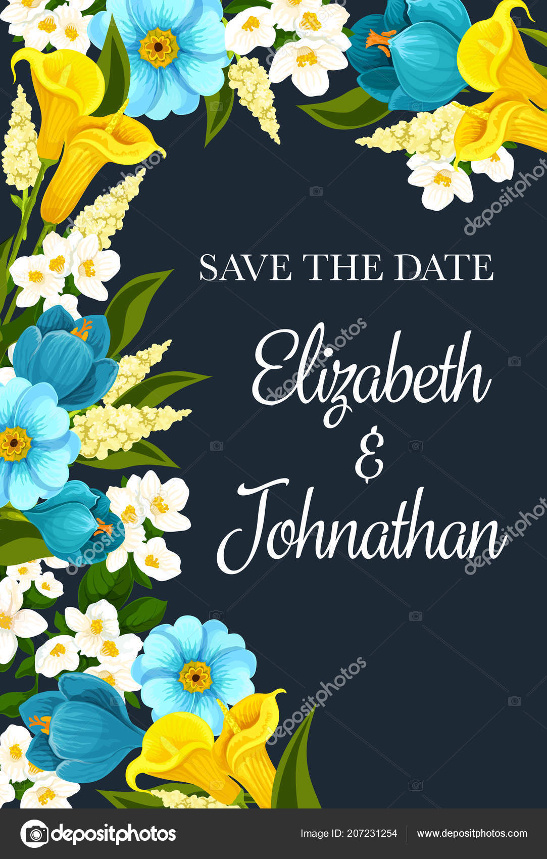 Save The Date Wedding Invitation With Blue Flowers Stock Vector