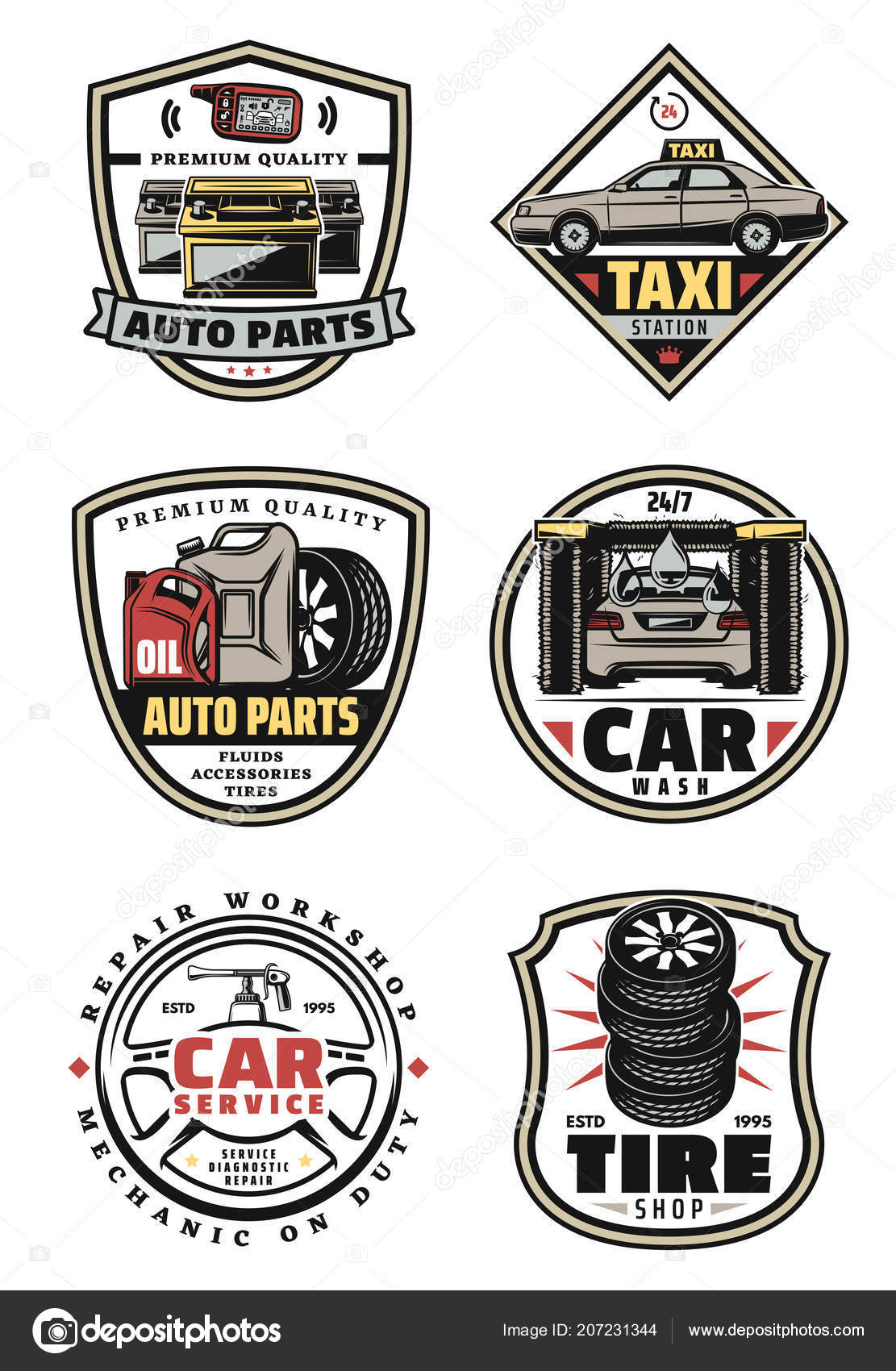 Car Repair Shop And Service Garage Vintage Badges Stock Vector