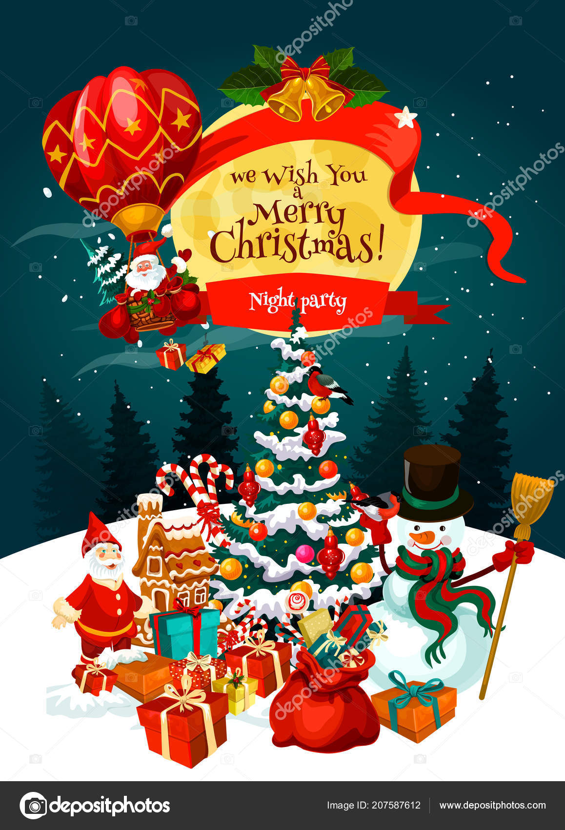 snowman and santa with xmas tree gift and bell snowflake ribbon bow and candy for new year night party banner design vector