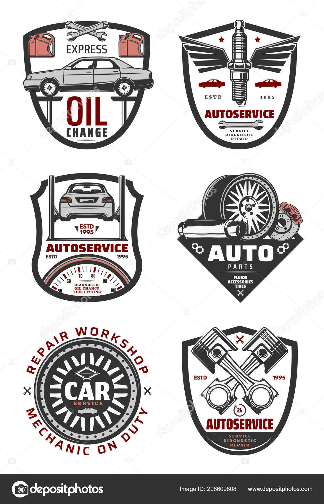 Car Repair Shop And Auto Service Vintage Badges Vector Image By C Seamartini Vector Stock 208609808