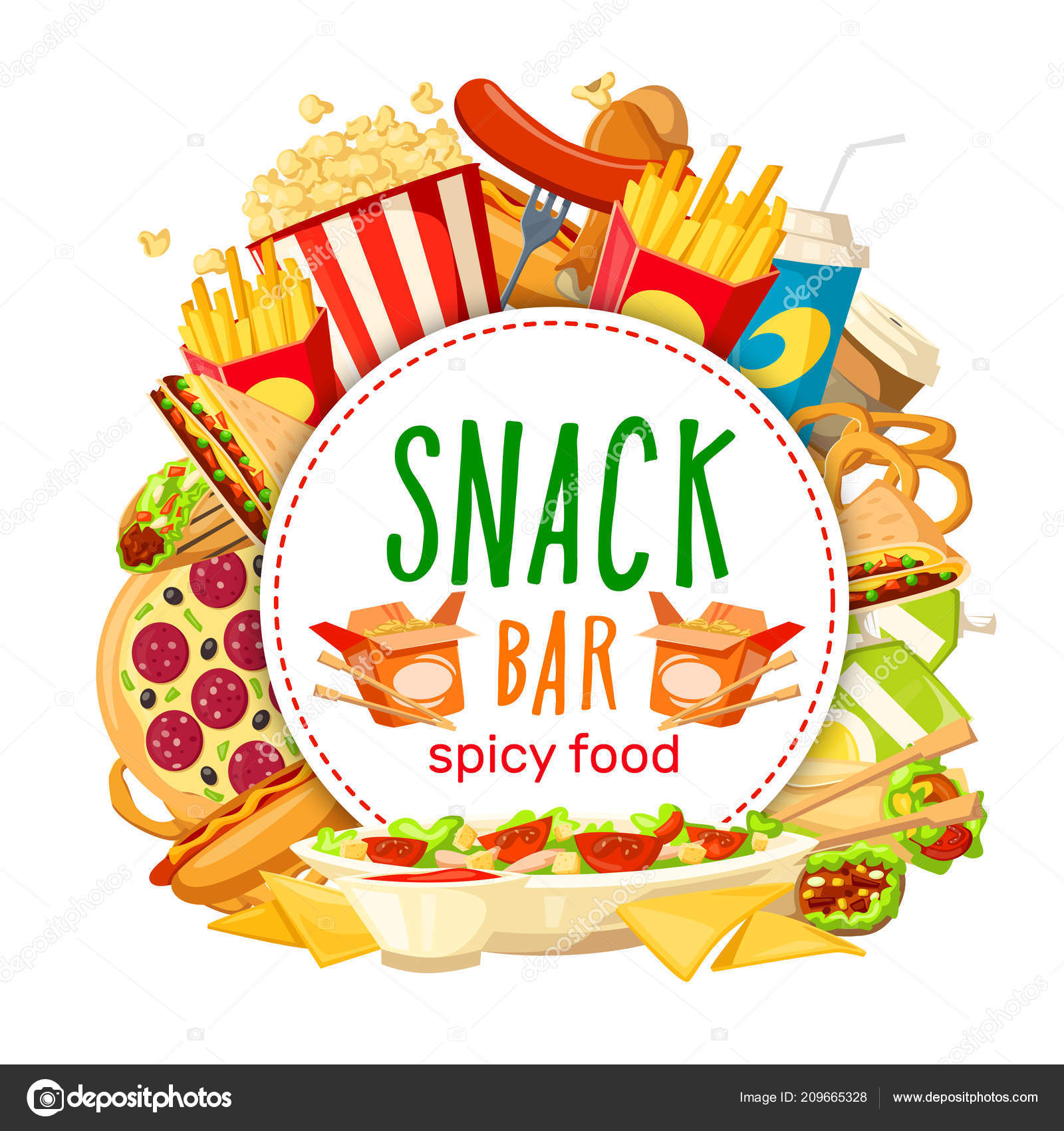 menu snack bar fast food snack bar vector poster