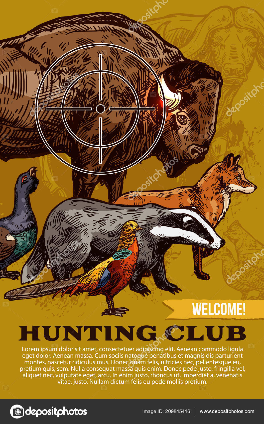 hunting club wild animals and birds poster stock vector