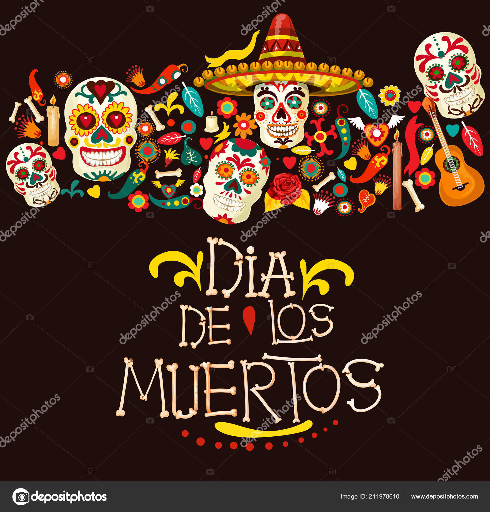 Dia de los muertos mexican holiday greeting card dia de los muertos greeting card for mexican traditional holiday or day of dead celebration vector cartoon skeleton skulls in sombrero with mexico m4hsunfo