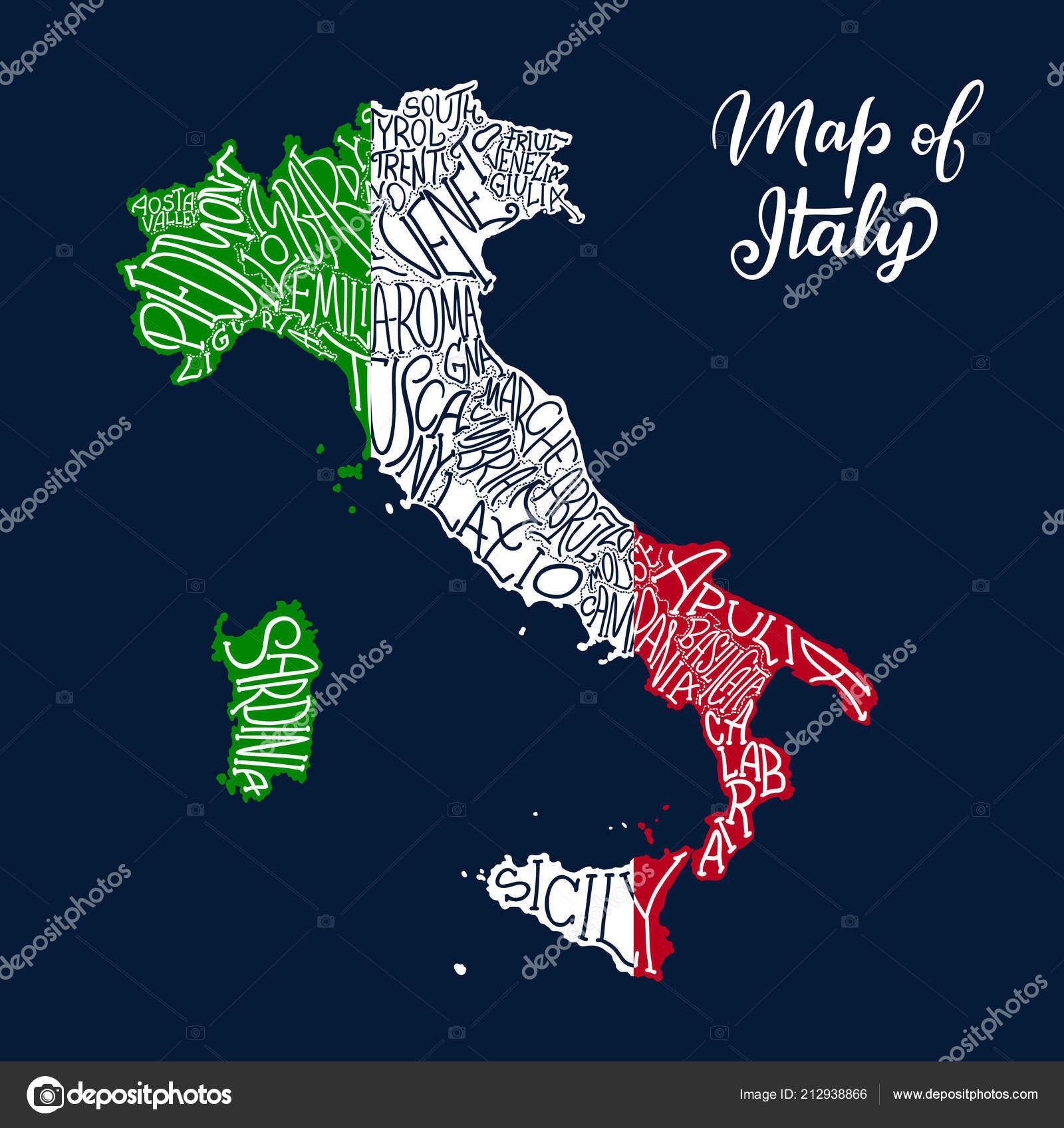 Karte Italien Regionen.Italien Regionen Karte Im Vektor Skizzieren Schriftzug Stockvektor
